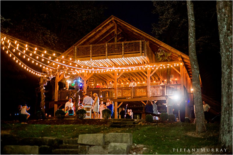night reception at grand barn at the mohicans rustic wedding venue