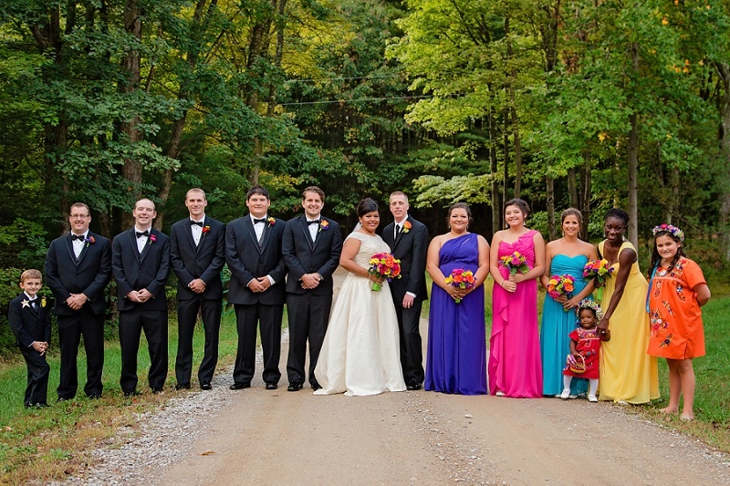 colorful bridal party in mexican inspired wedding