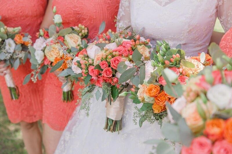 pink and orange wedding flowers