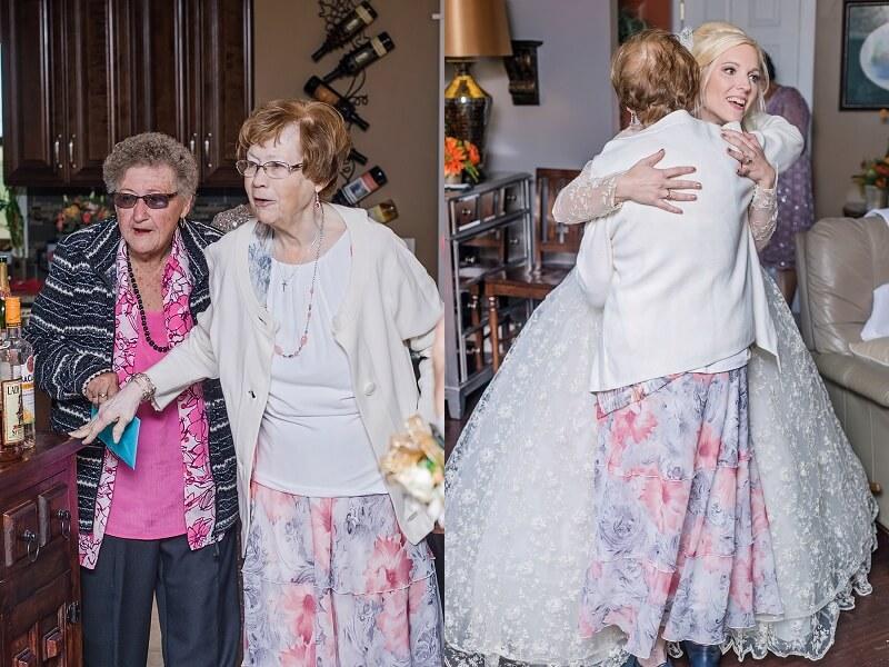 bride wore her grandmother's vintage lace wedding dress