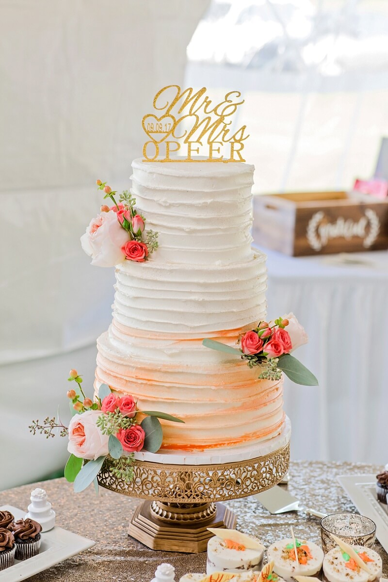 rose gold and pink cake