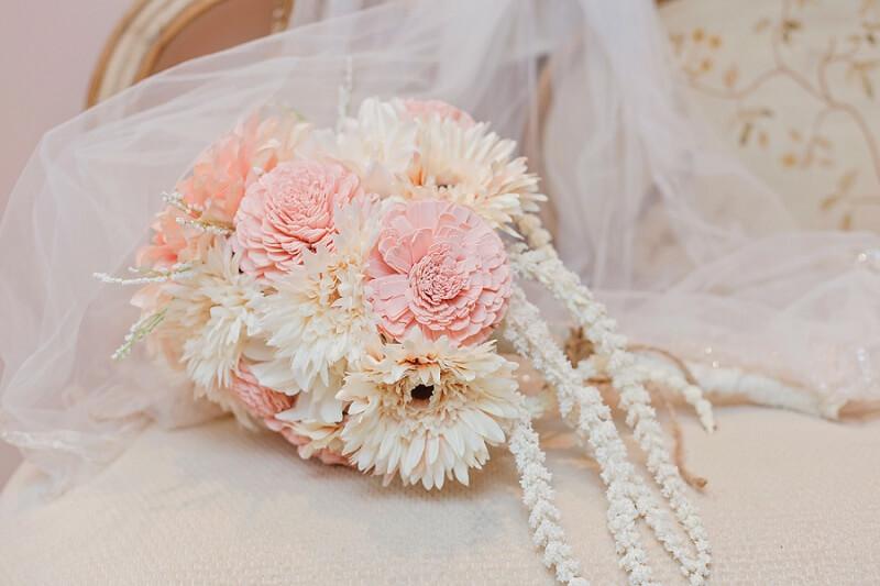 wooden flower bridal bouquet