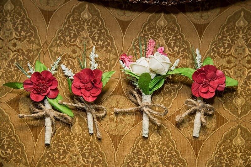 wooden flower boutonnierre