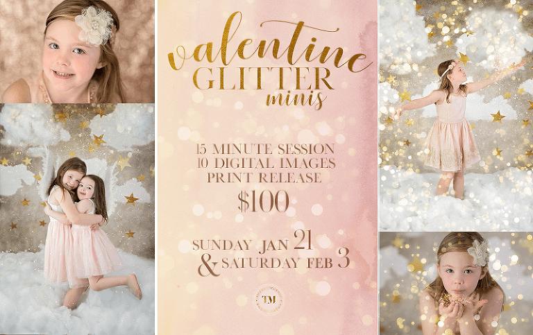 valentine glitter minis