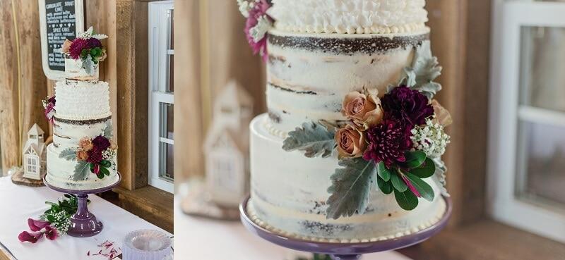 rustic summer wedding naked cake