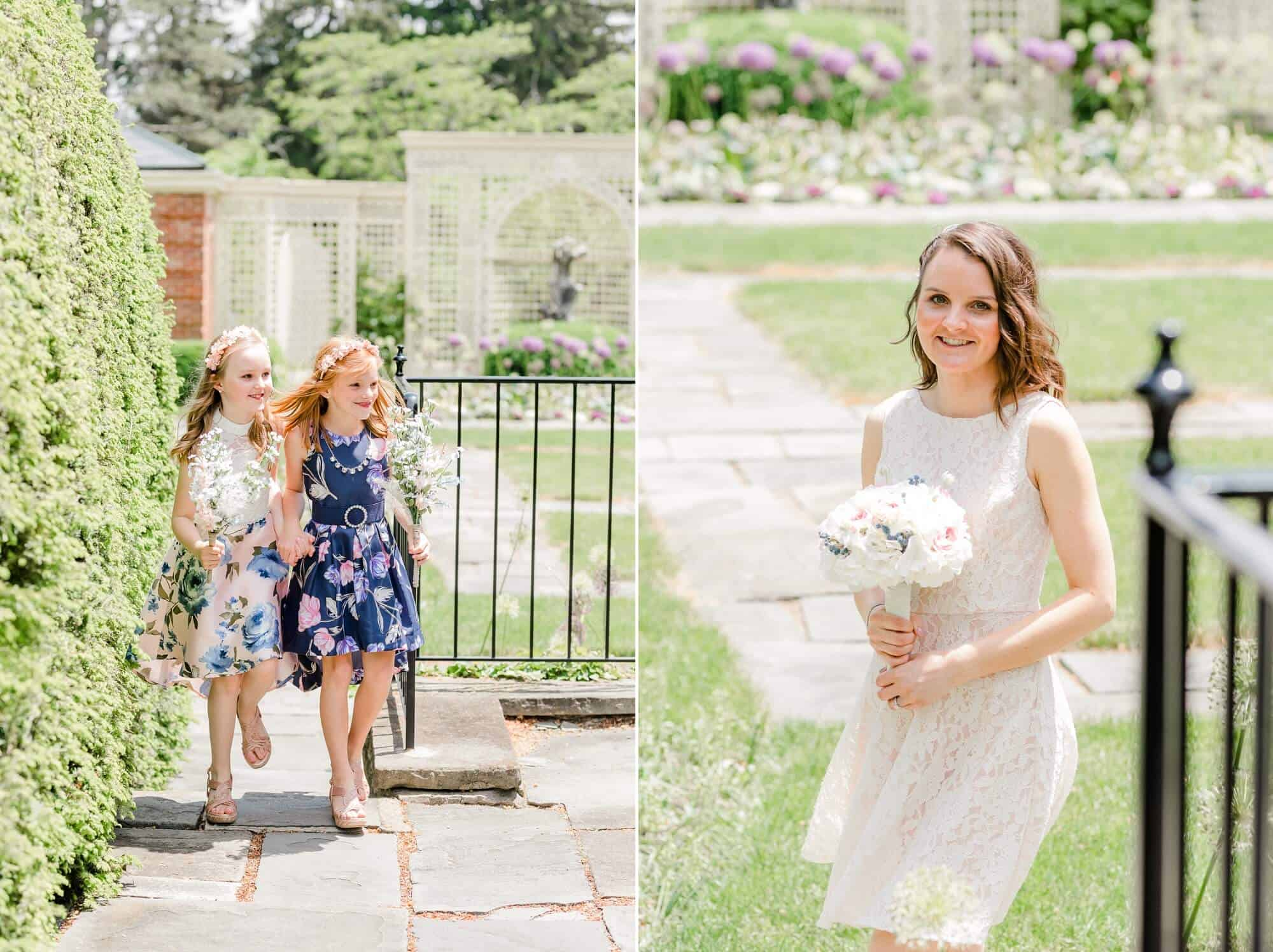 bride and girls walk down the aisle to kingwood center gardens wedding