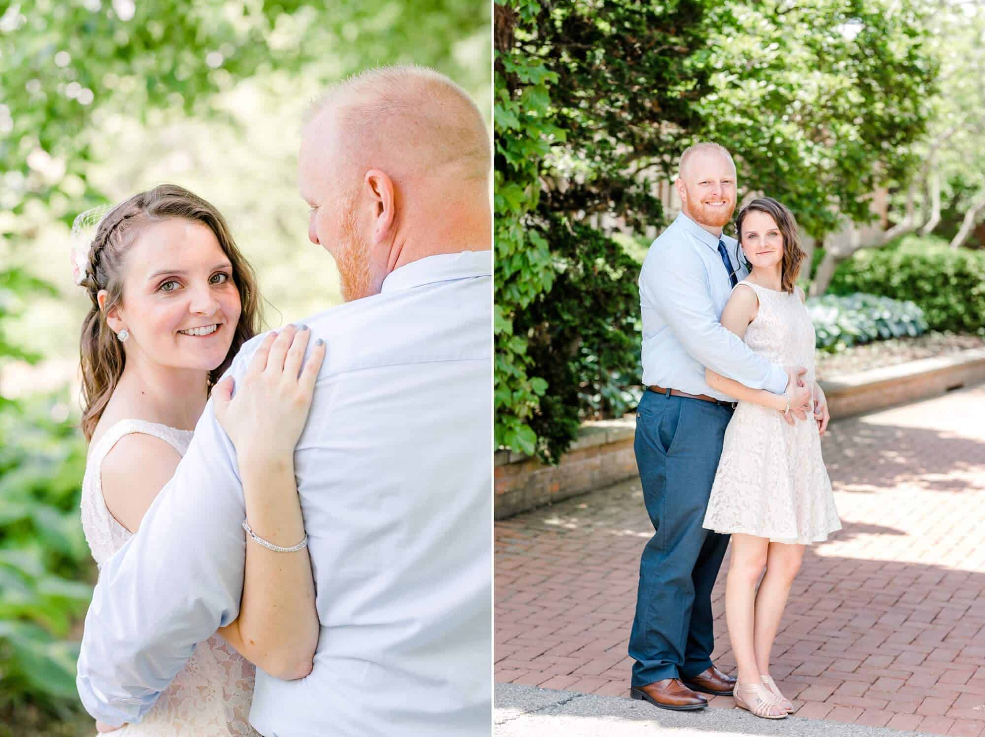 bride and groom pose for portraits at kingwood center gardens wedding