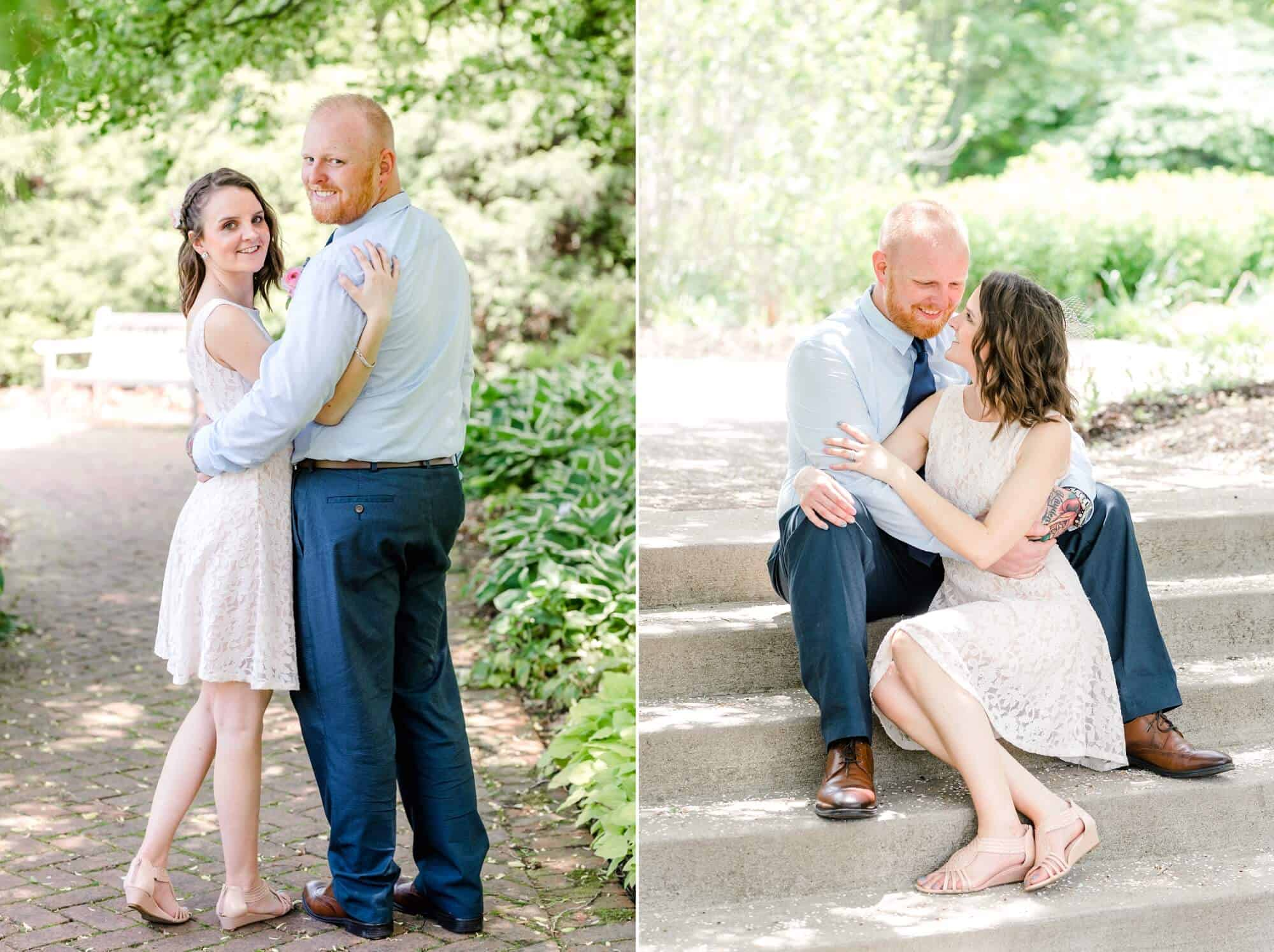 bride and groom pose for portraits after kingwood center gardens wedding
