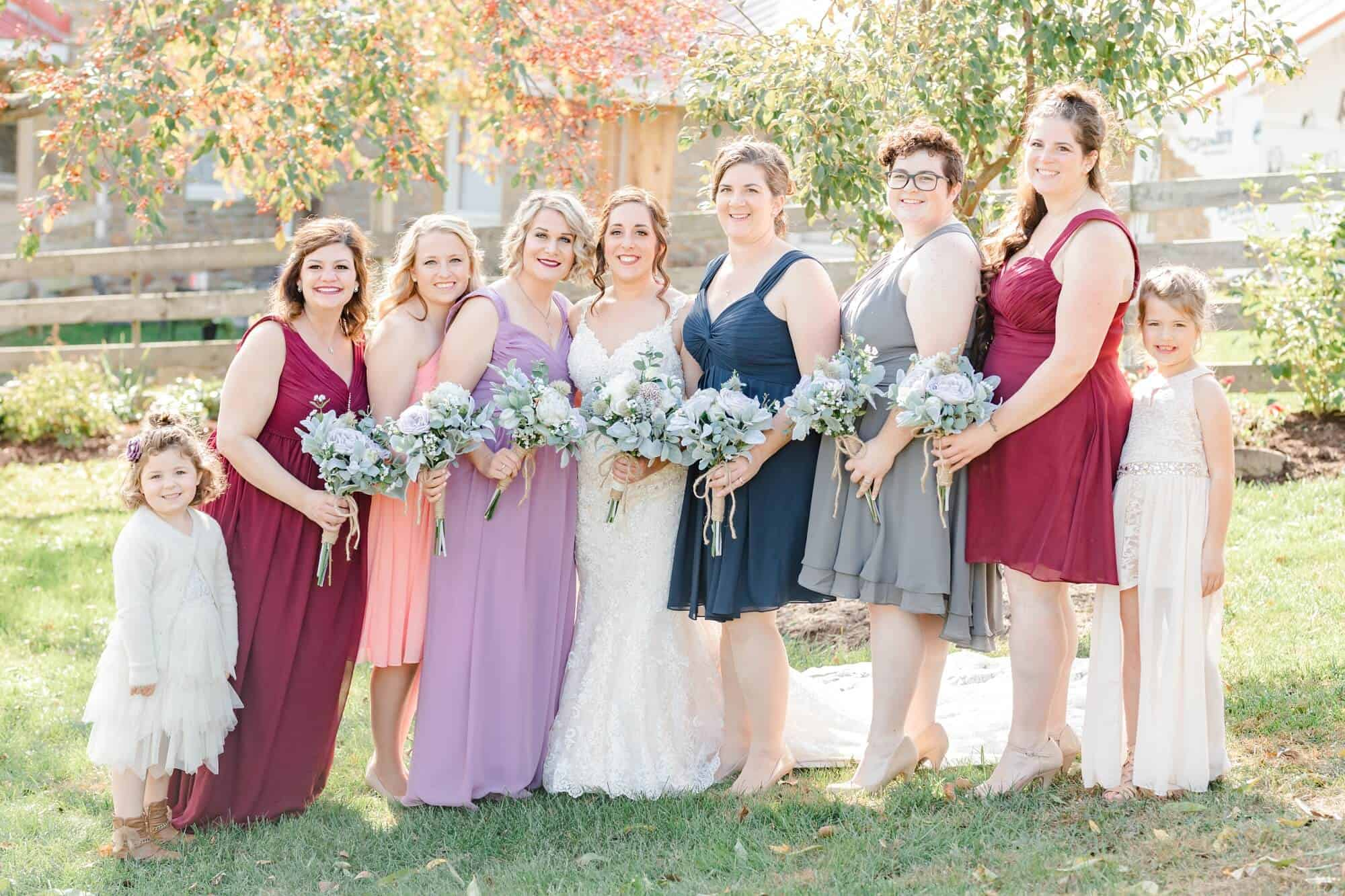 bridal party portraits white pine grove