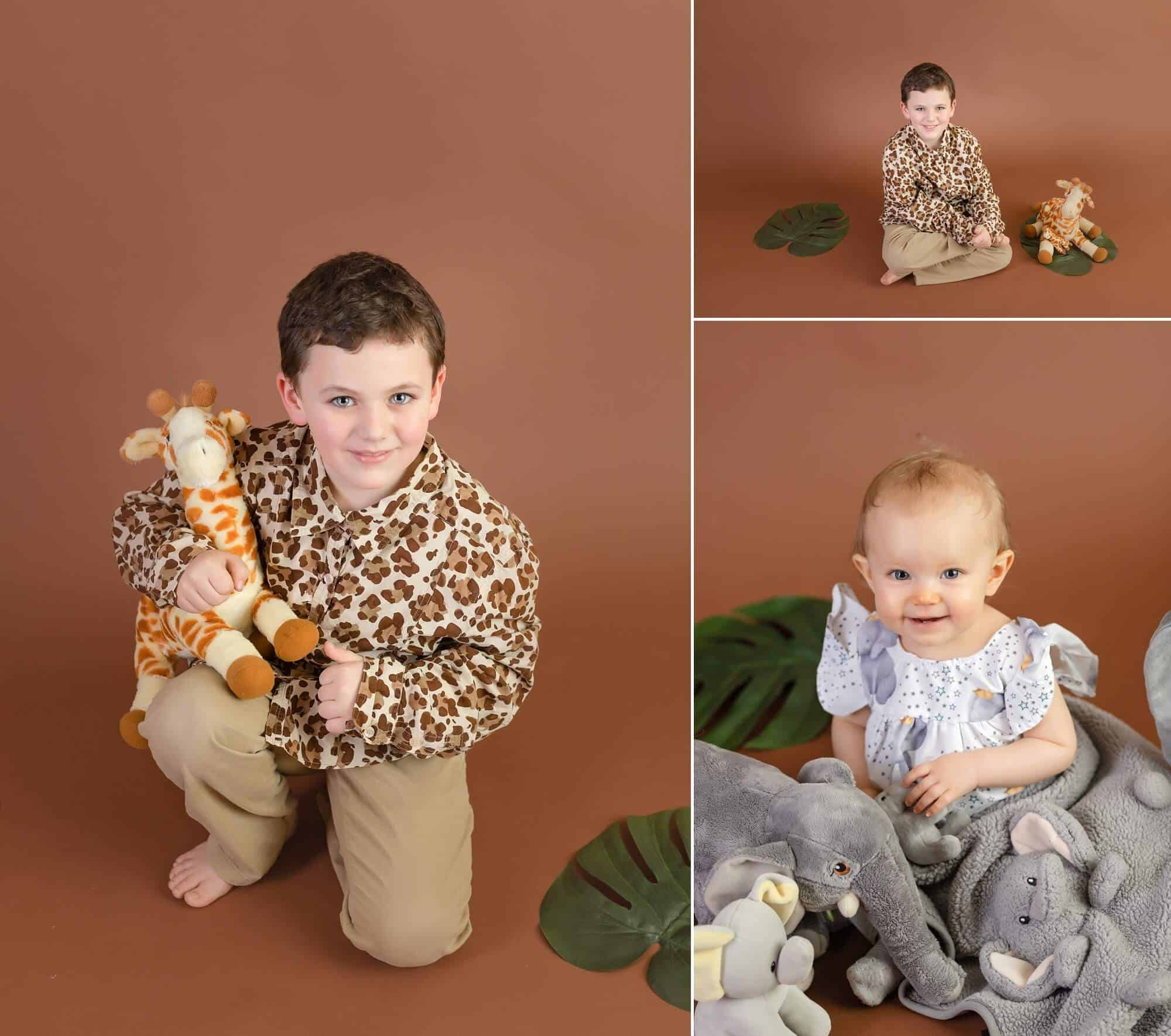 safari themed sibling photo shoot