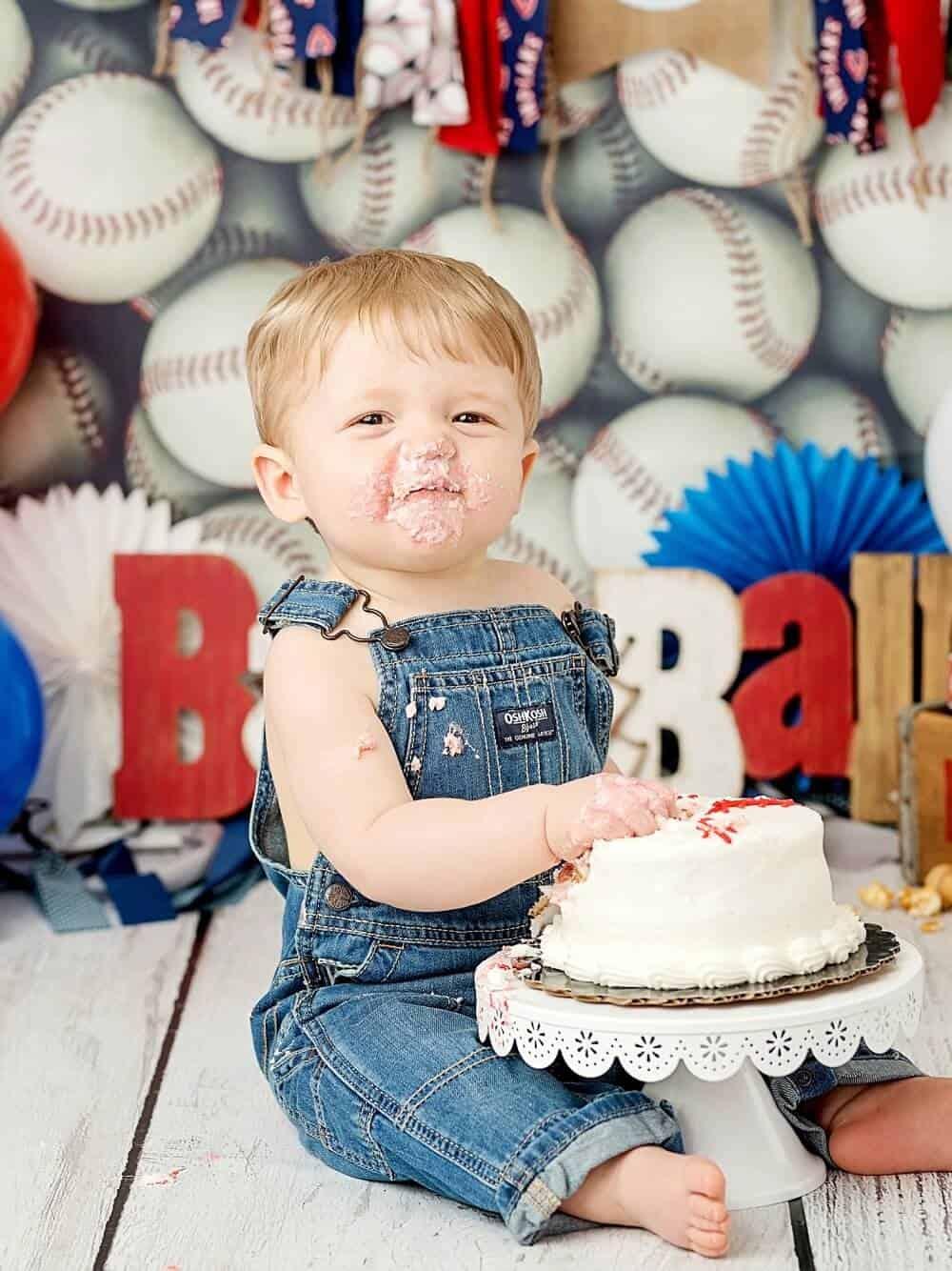 jaxson baseball first birthday cake smash session