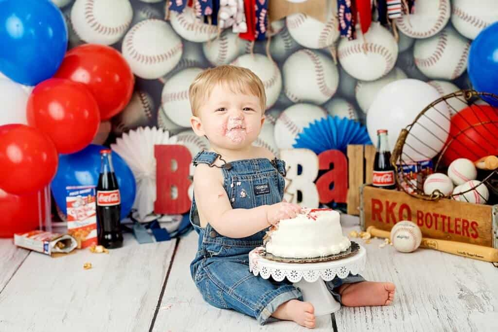 jaxson baseball first birthday cake smash session