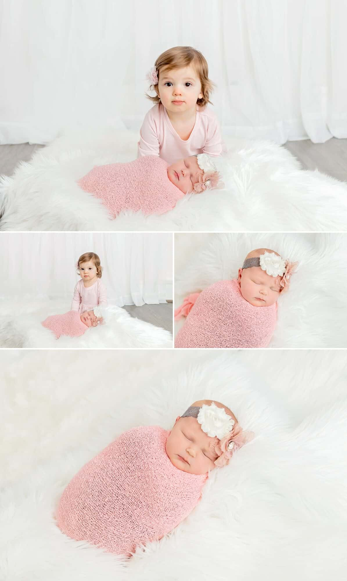 newborn girl and big sister in white and pink newborn photography mansfield