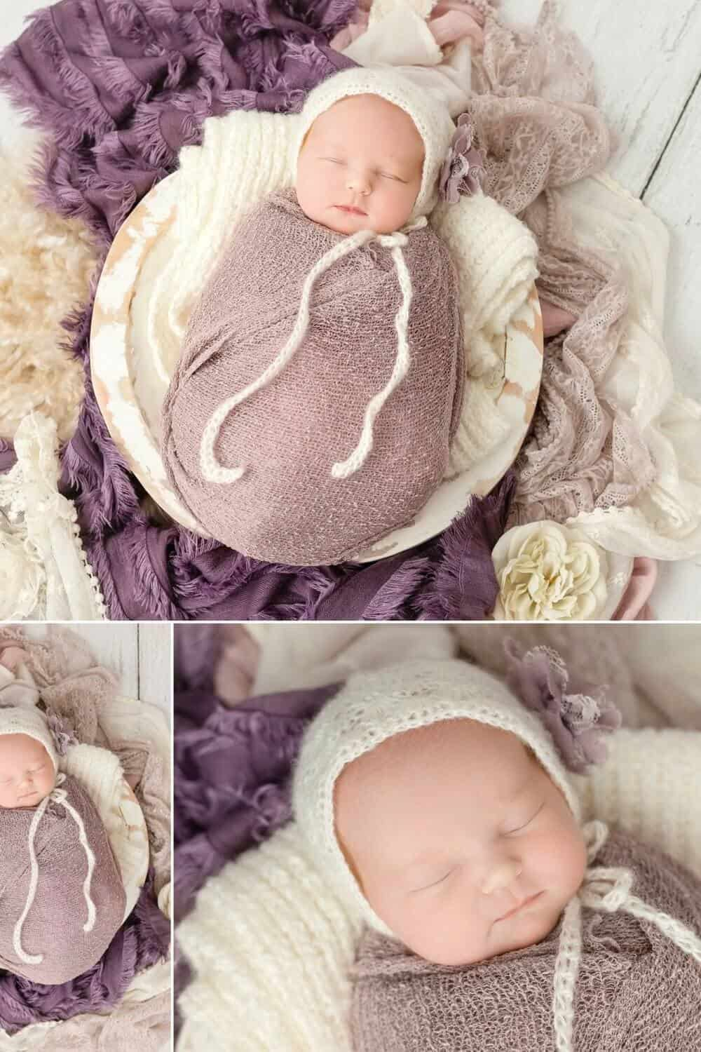 newborn photography in mansfield studio baby girl in cream and purple