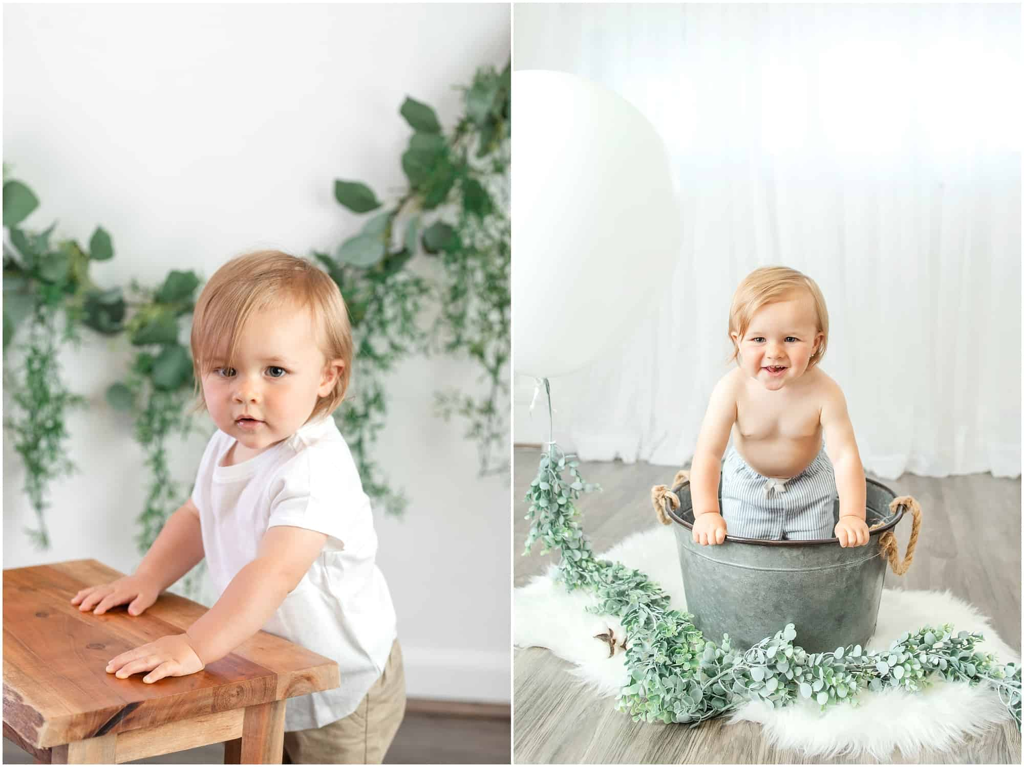 modern organic white and green first birthday session