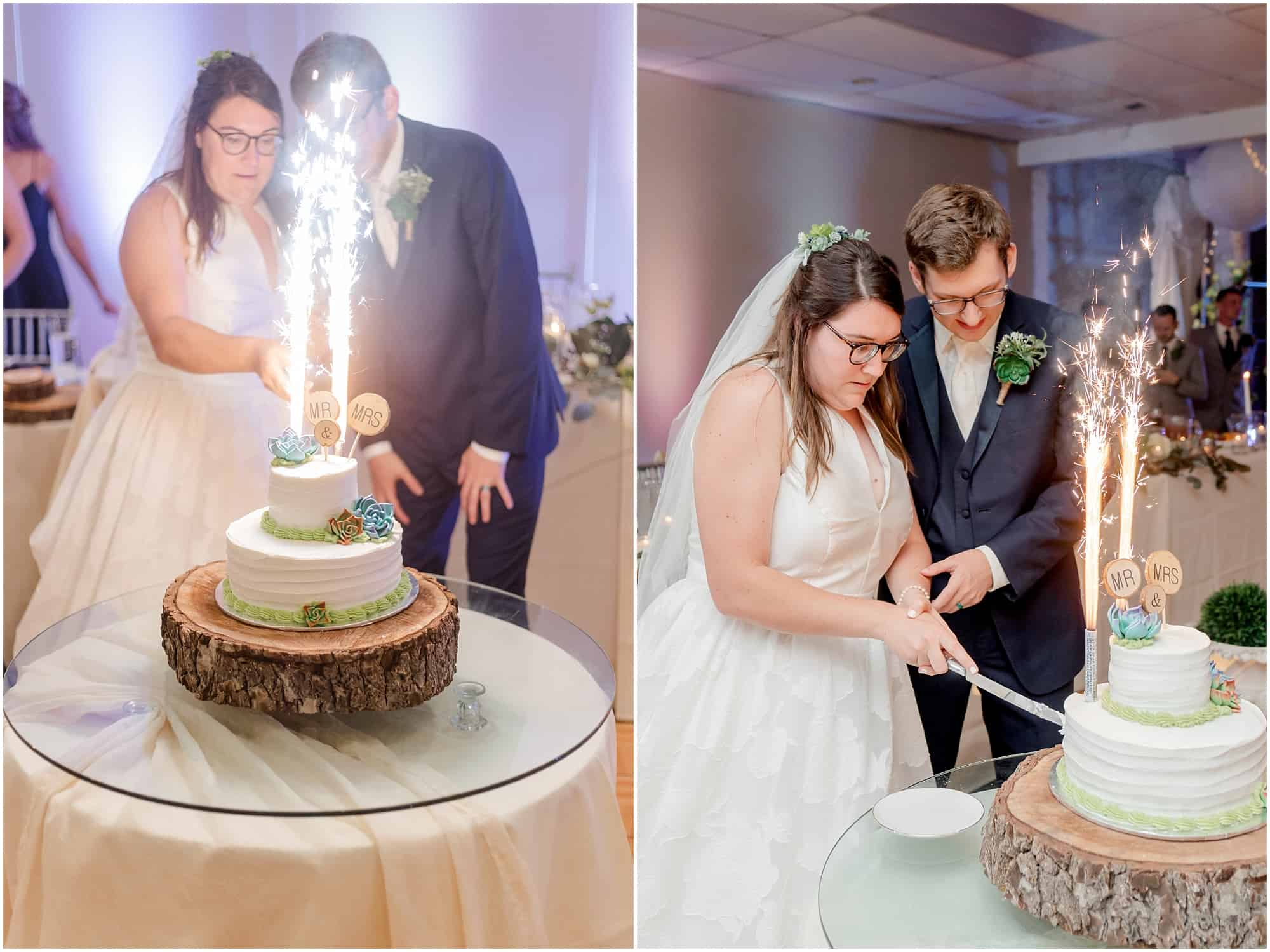 bride and groom cut their cake with sparklers by tiffany murray