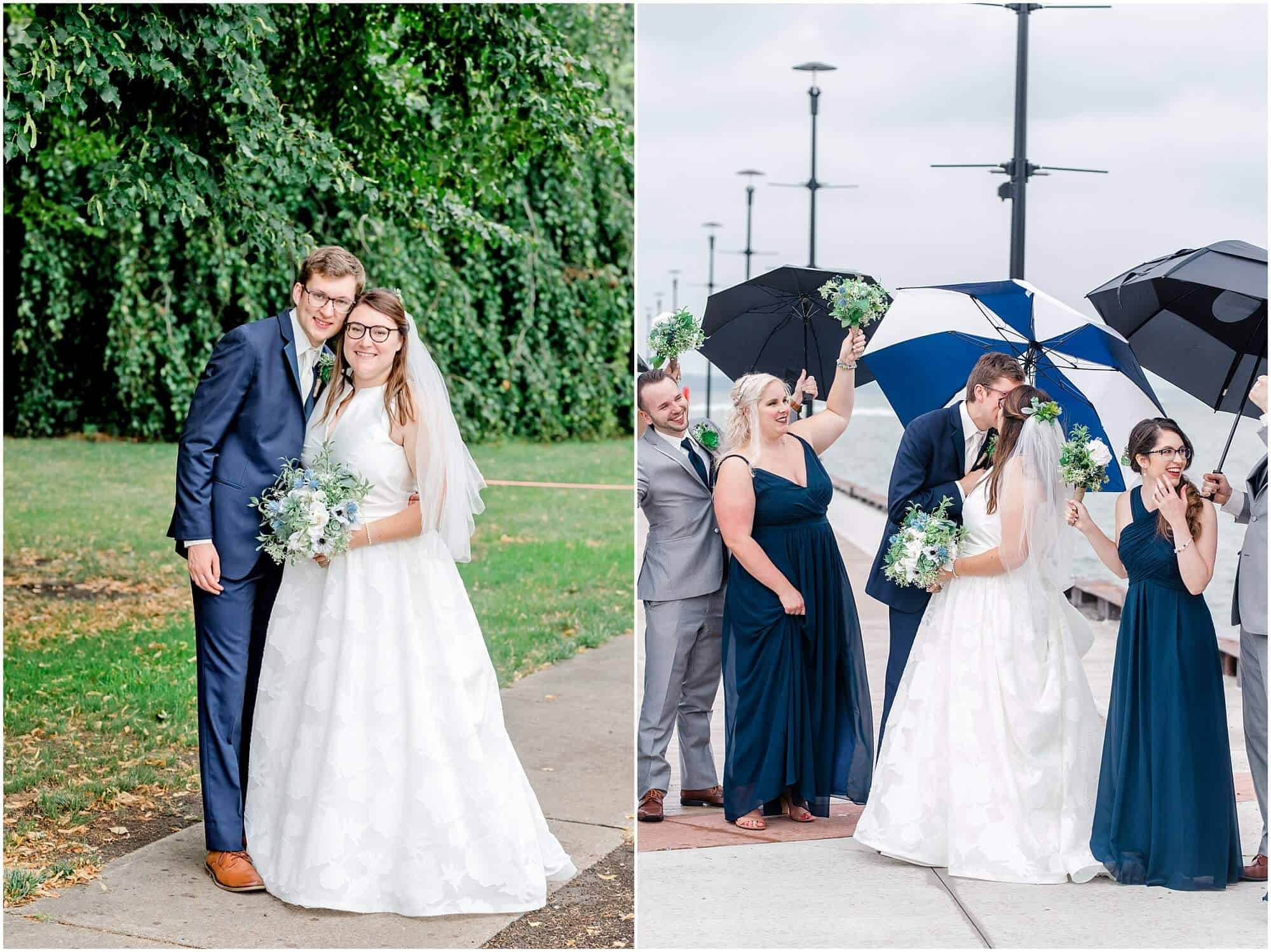 bride and groom on rainy wedding day by the lake by tiffany murray