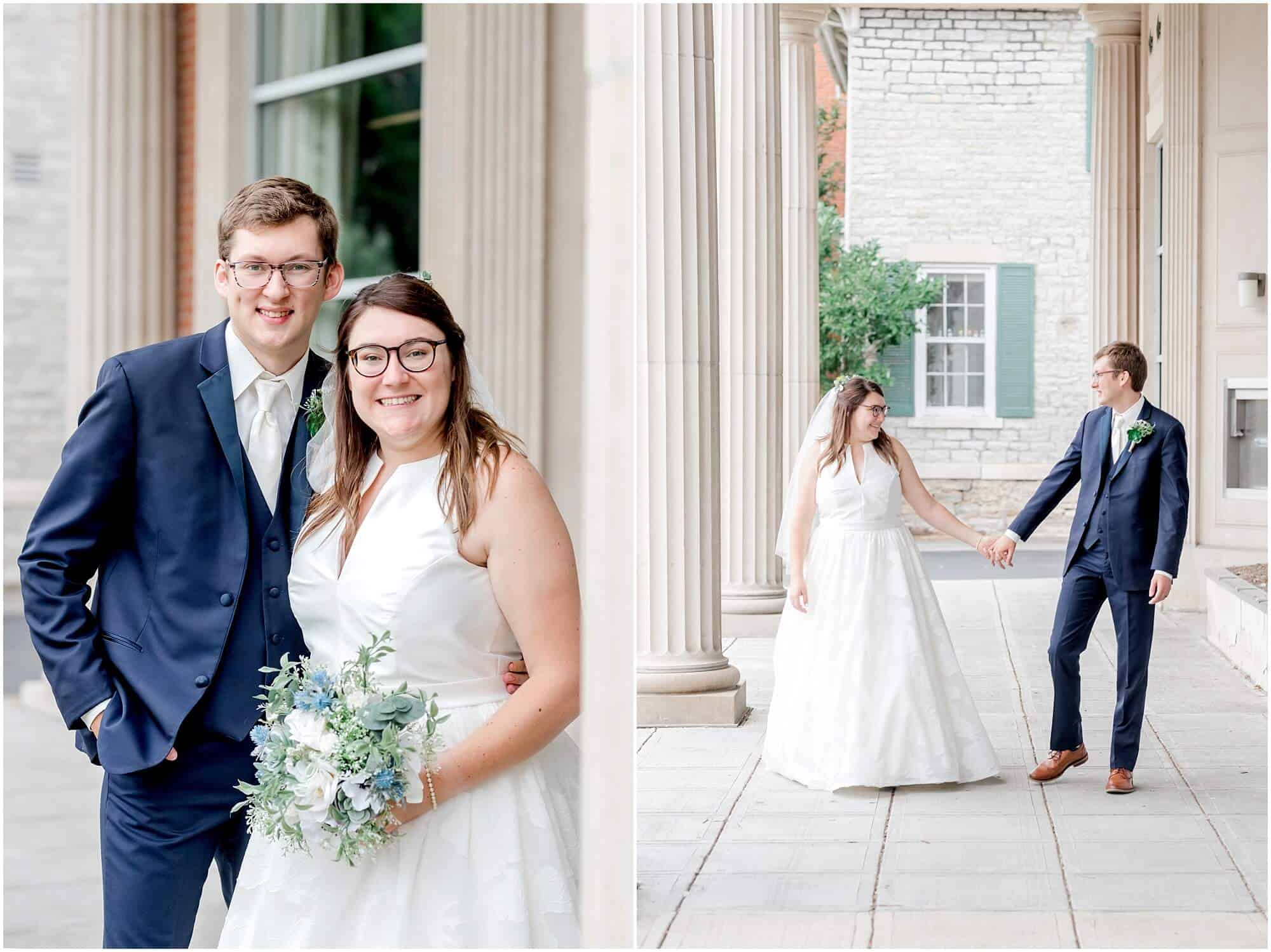 bride and groom pose in front of bank in downtown sandusky by tiffany murray