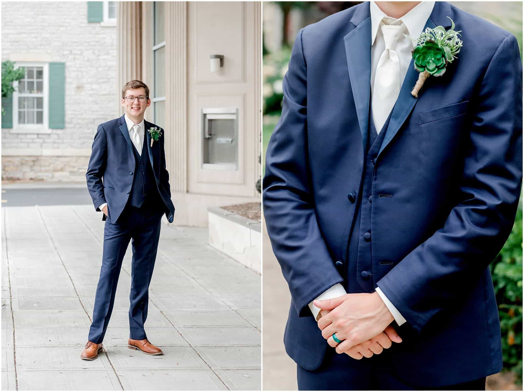 classic blue tux worn by groom photo by tiffany murray