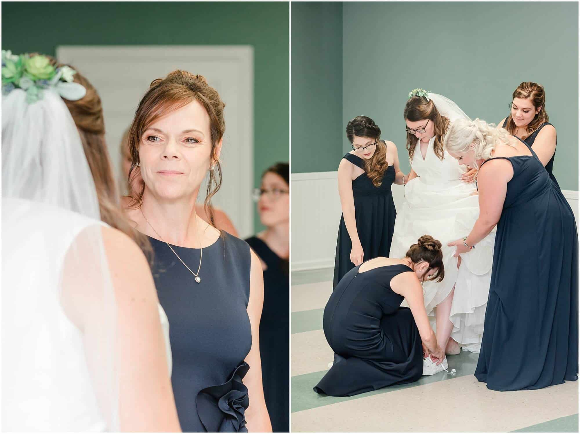 bride preparing with bridesmaids and mother in church basement by tiffany murray