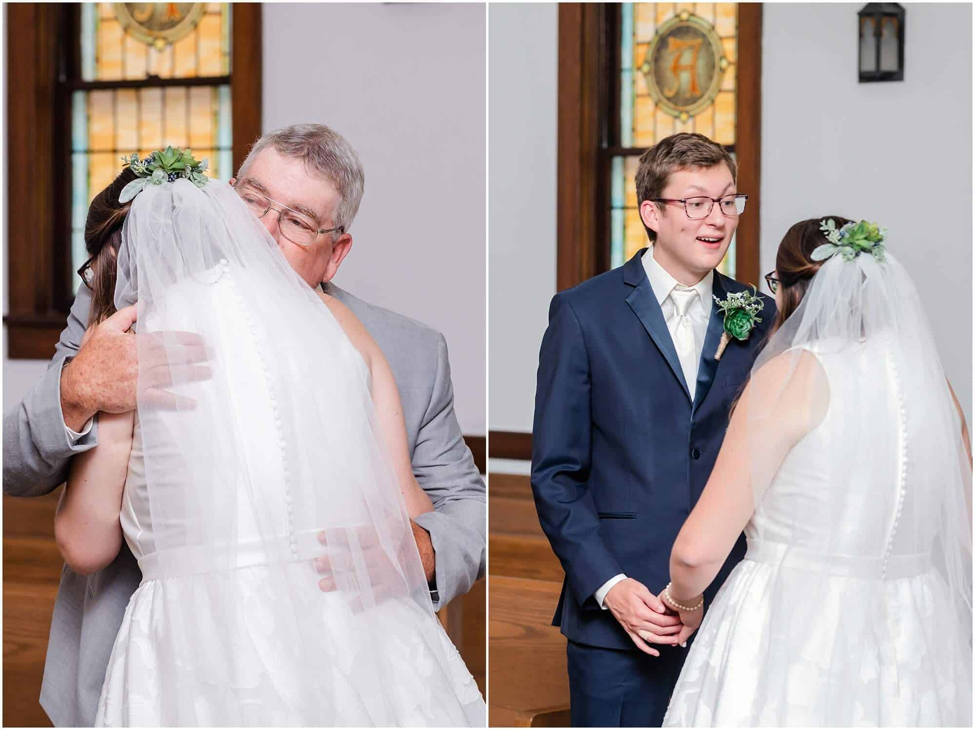 bride's first look with groom and father by tiffany murray