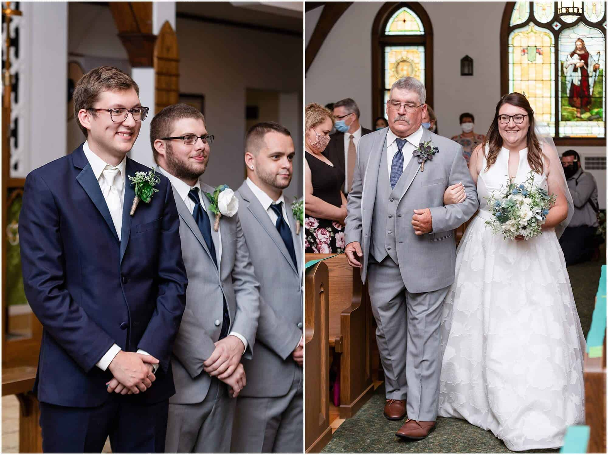 bride walks down the aisle to her groom by tiffany murray