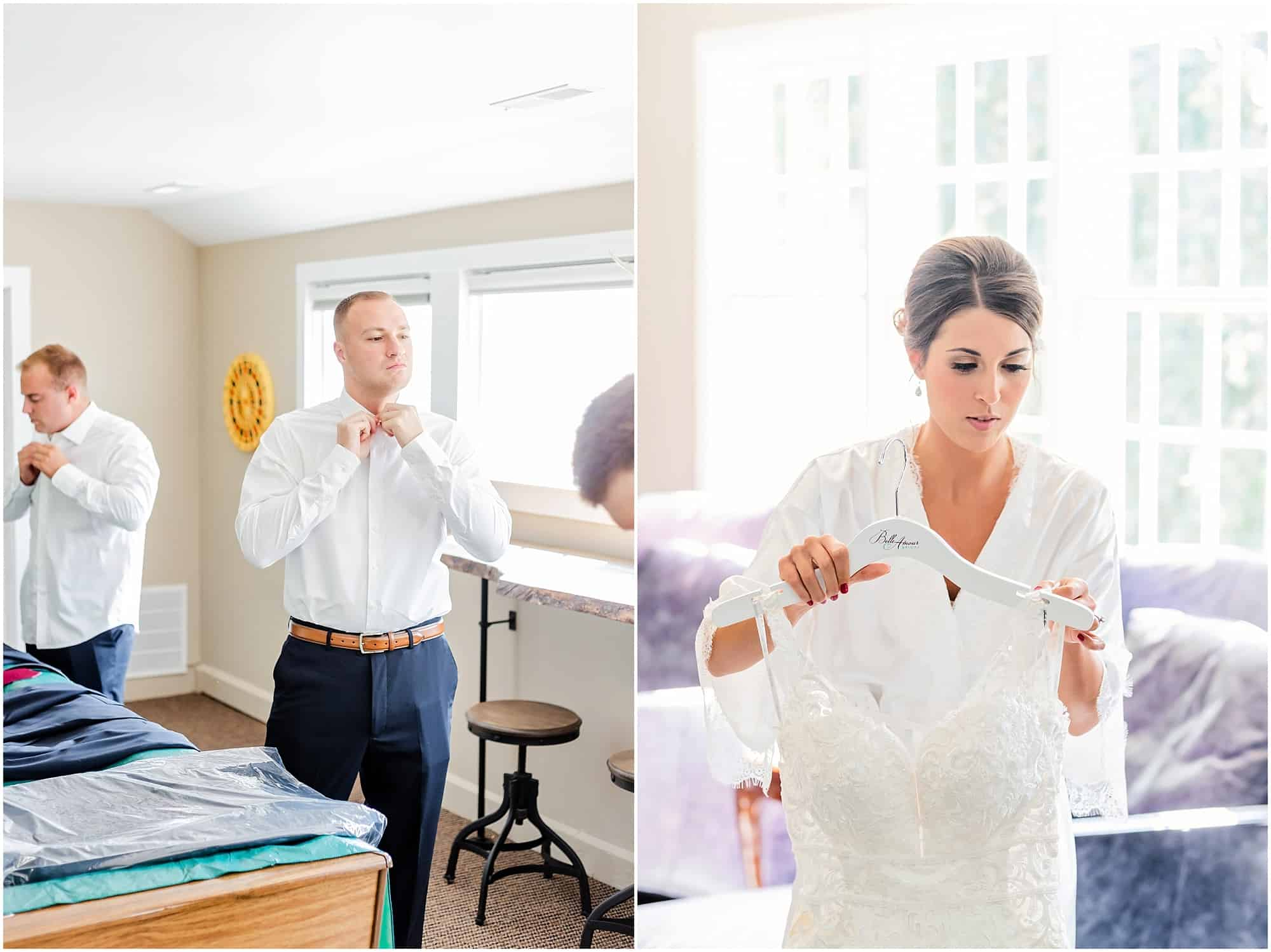 bride and groom prepare for wedding at millsite lodge by tiffany murray