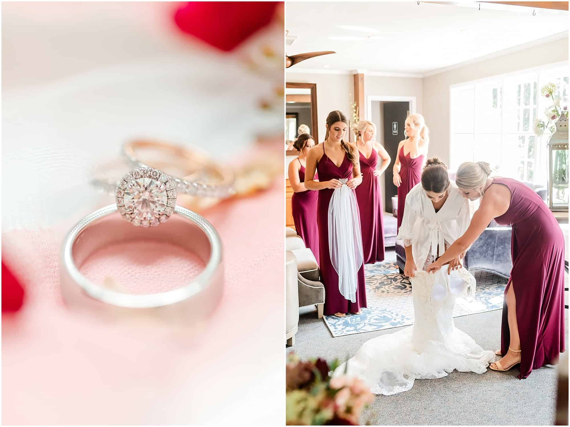 bride gets into gown at millsite lodge by tiffany murray