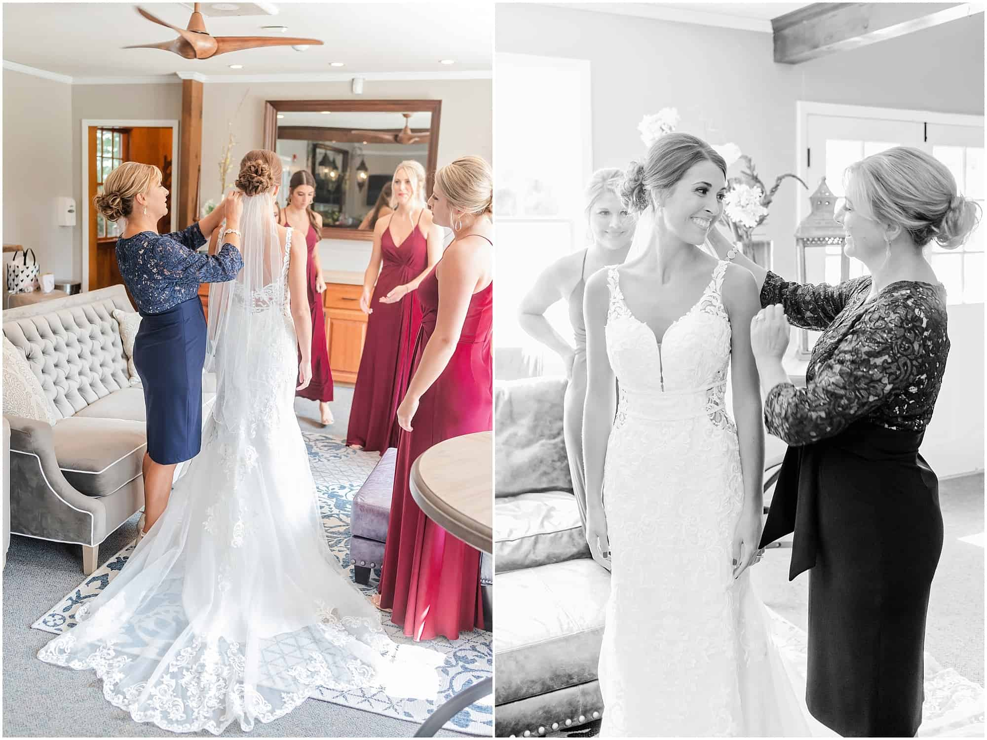 bride gets into gown at millsite lodge before ceremony by tiffany murray