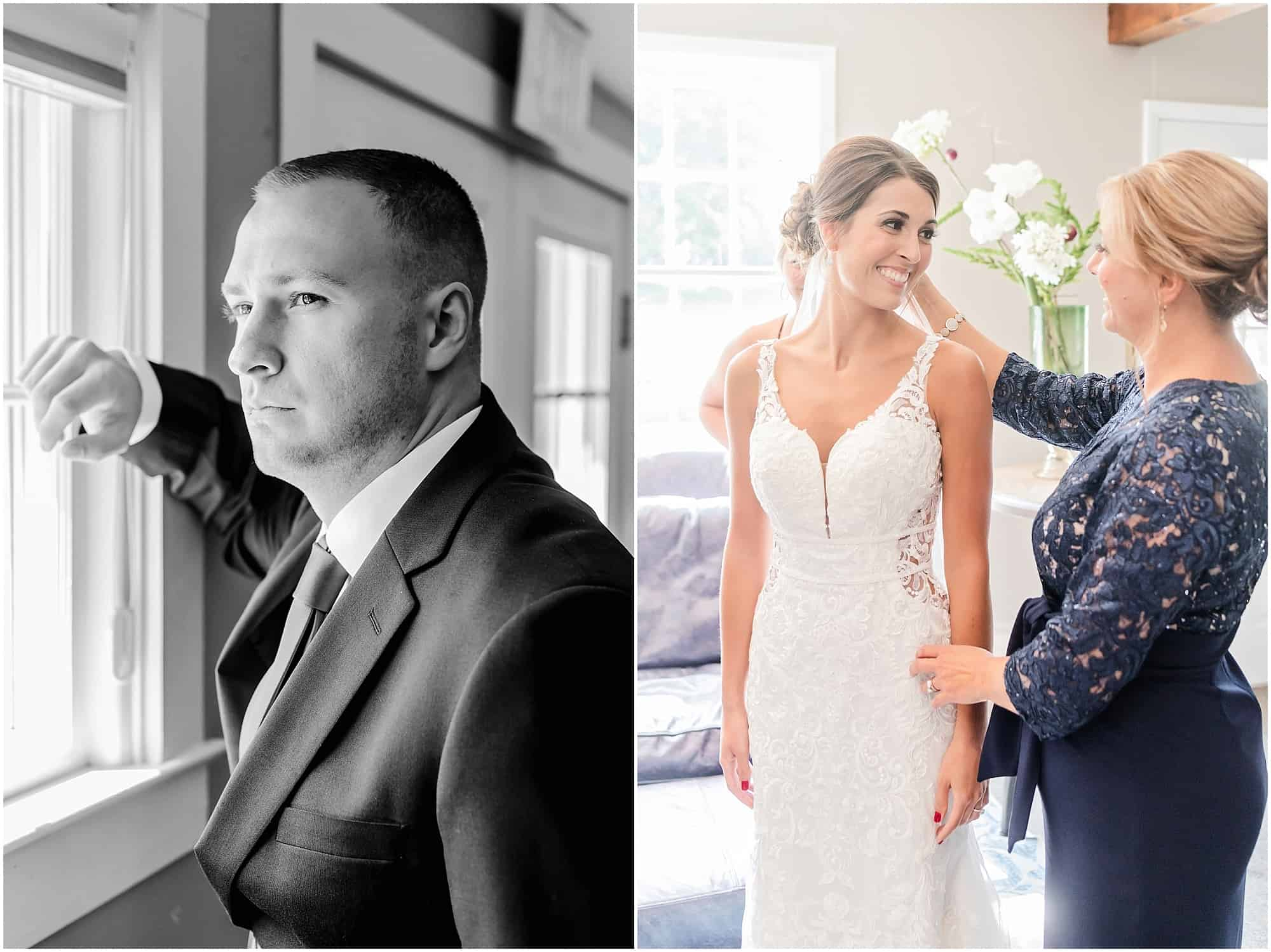 bride and groom prepare for millsite lodge wedding by tiffany murray