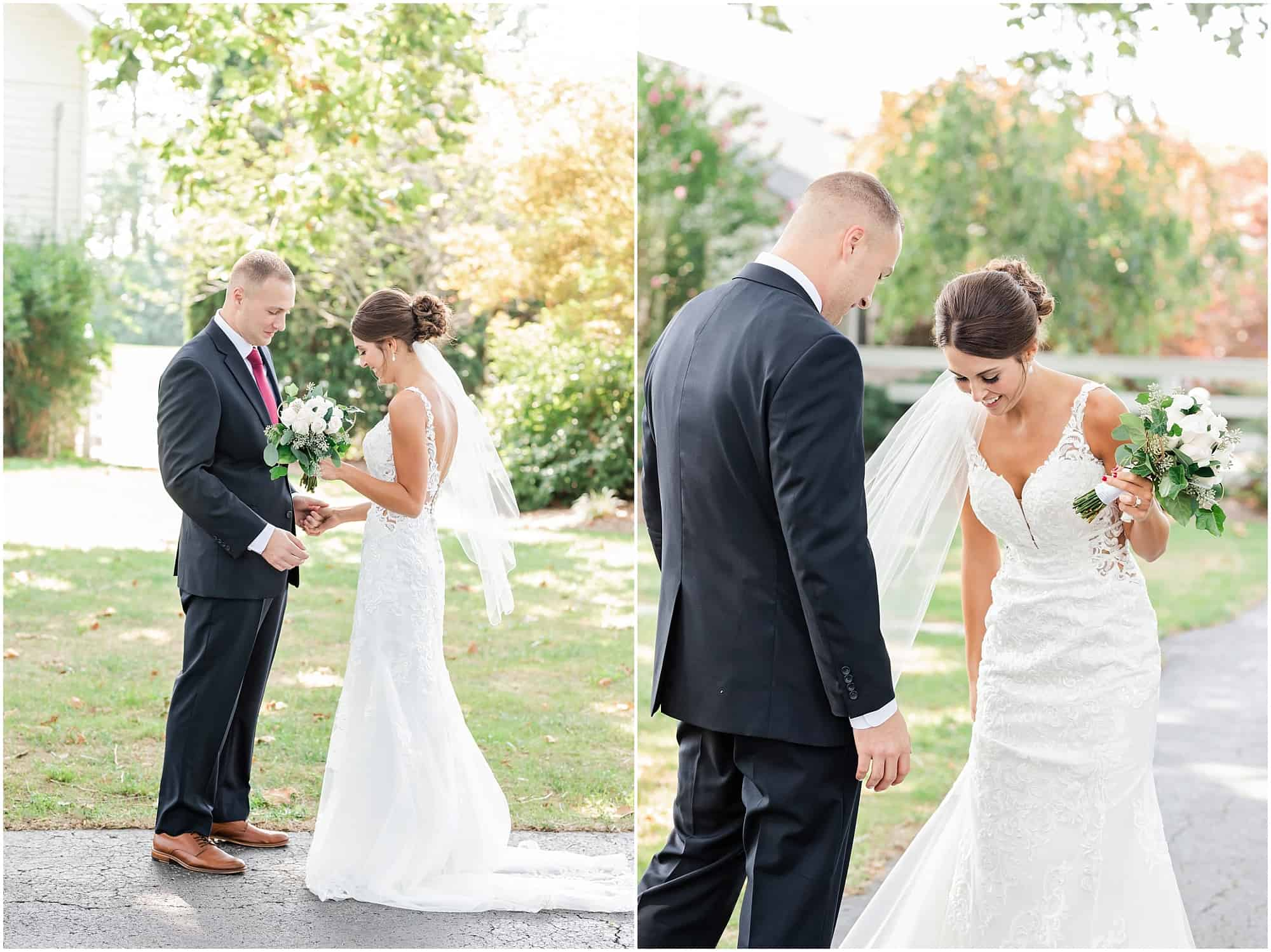 bride and groom's first look at millsite lodge by tiffany murray