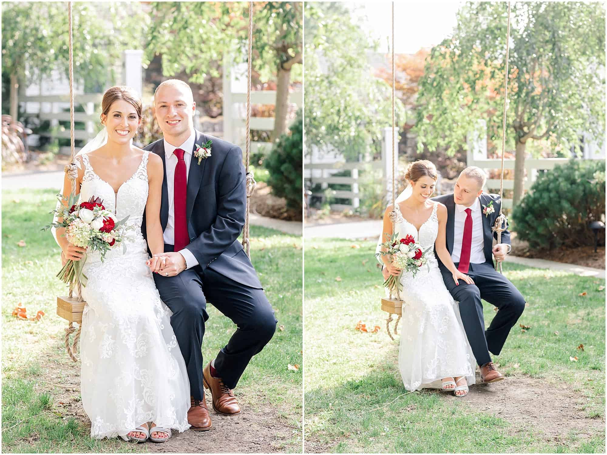 millsite lodge swing bride and groom portrait by tiffany murray
