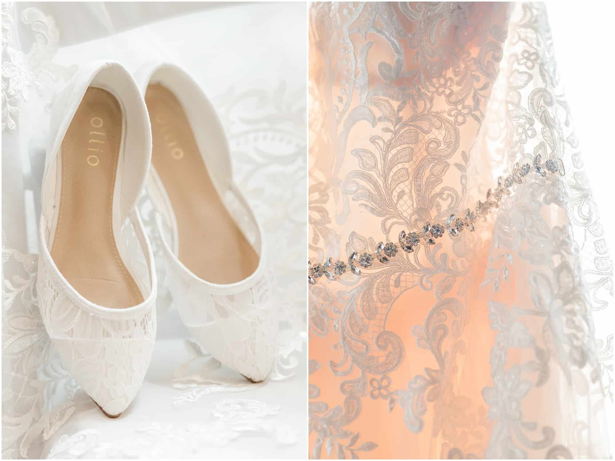 pink and lace details in bridal suite