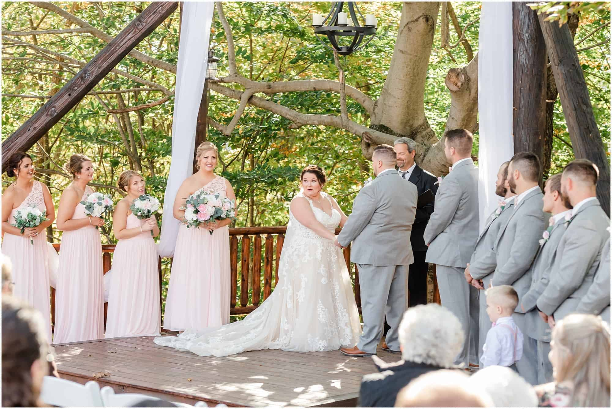 fall wedding under pergola at willow haven