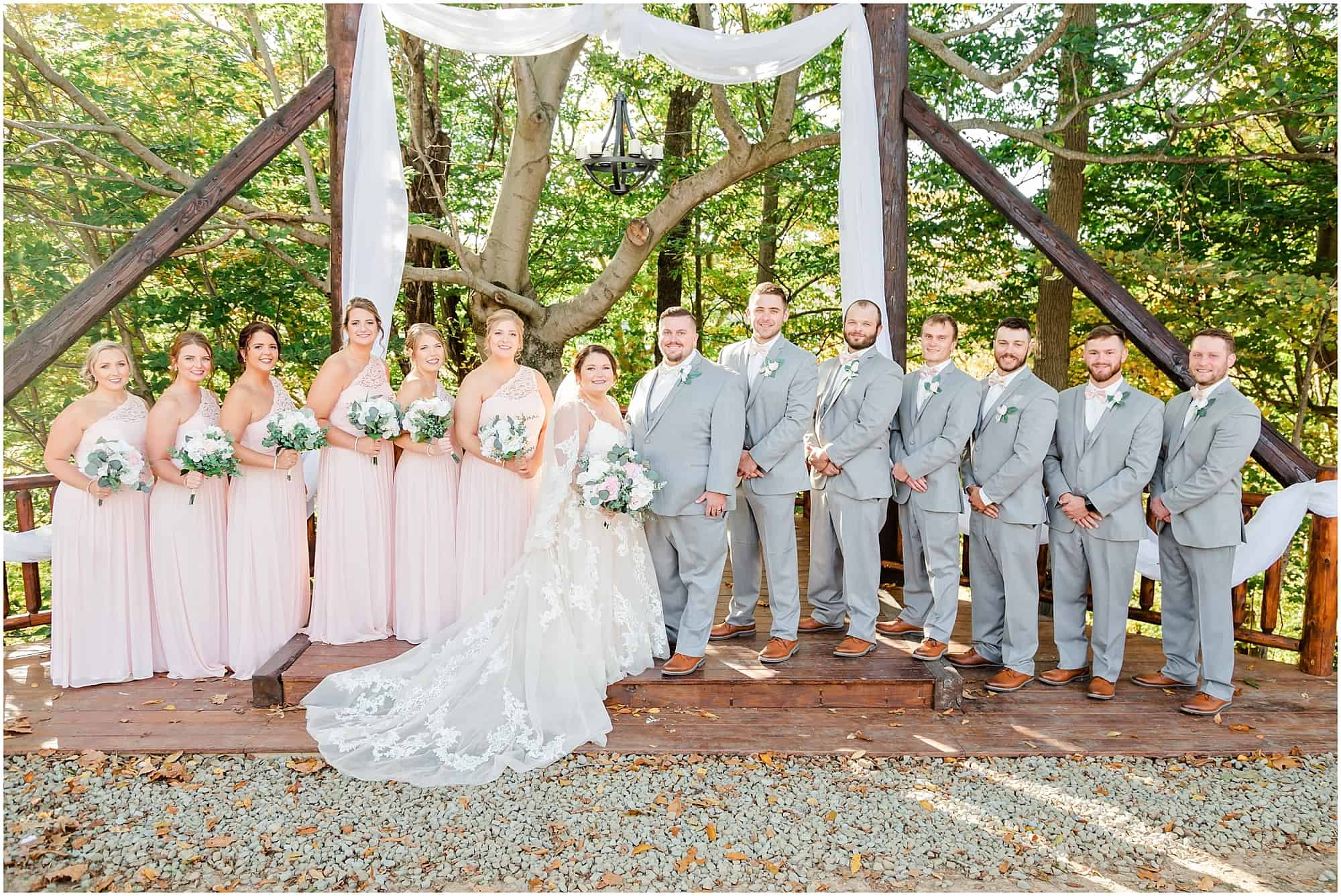 bridal party under pergola