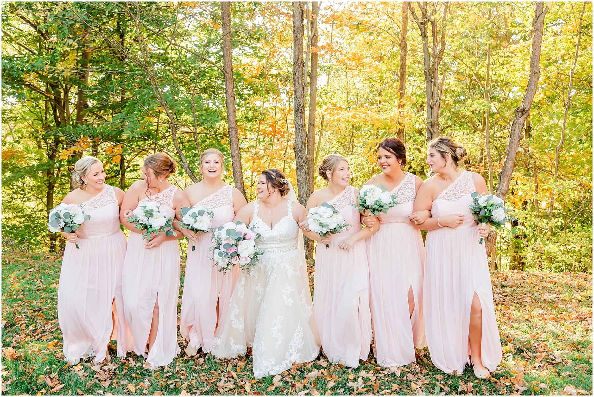 bride and bridesmaids portraits at willow haven