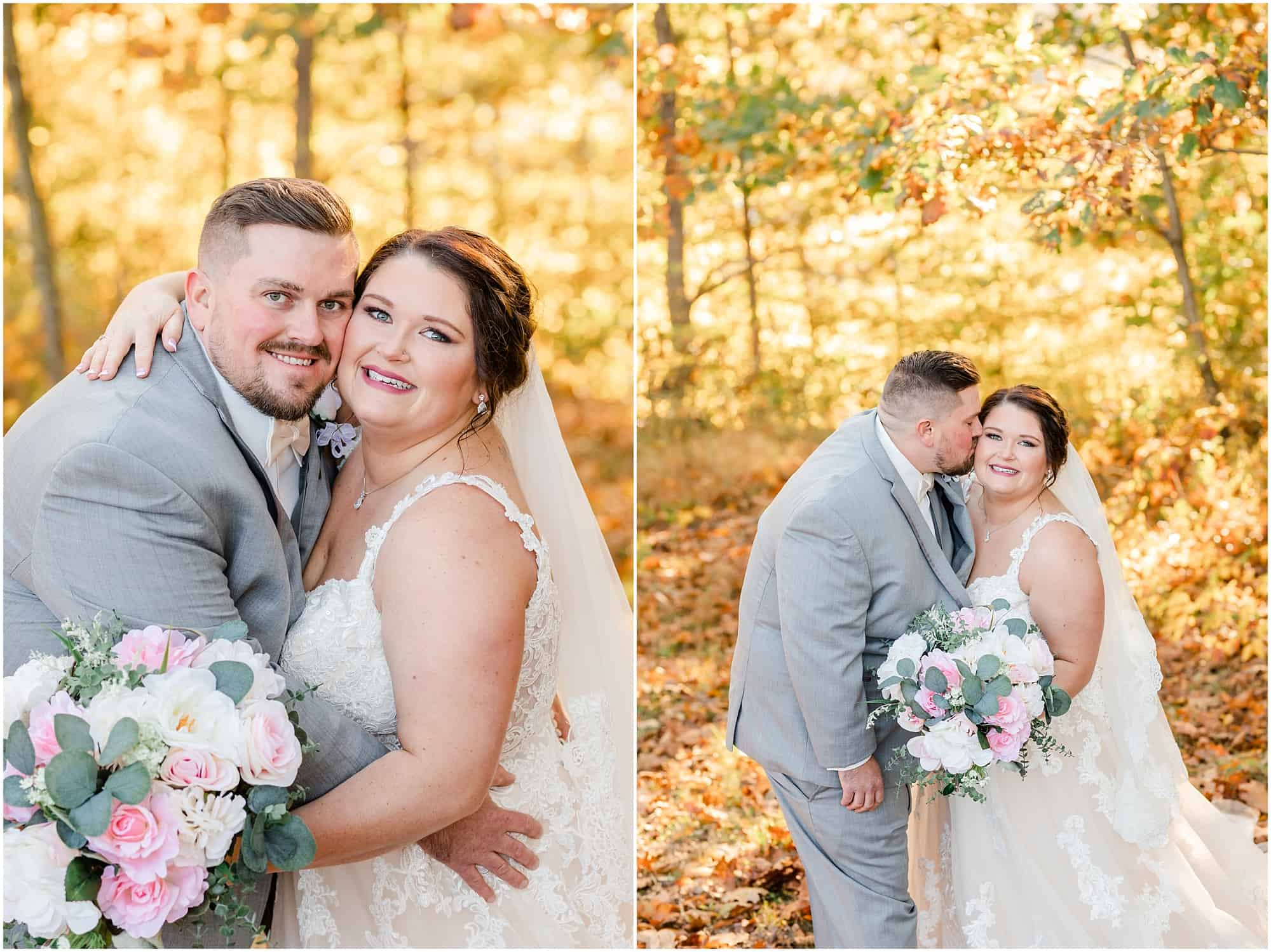 bride and groom pose for portraits after fall wedding