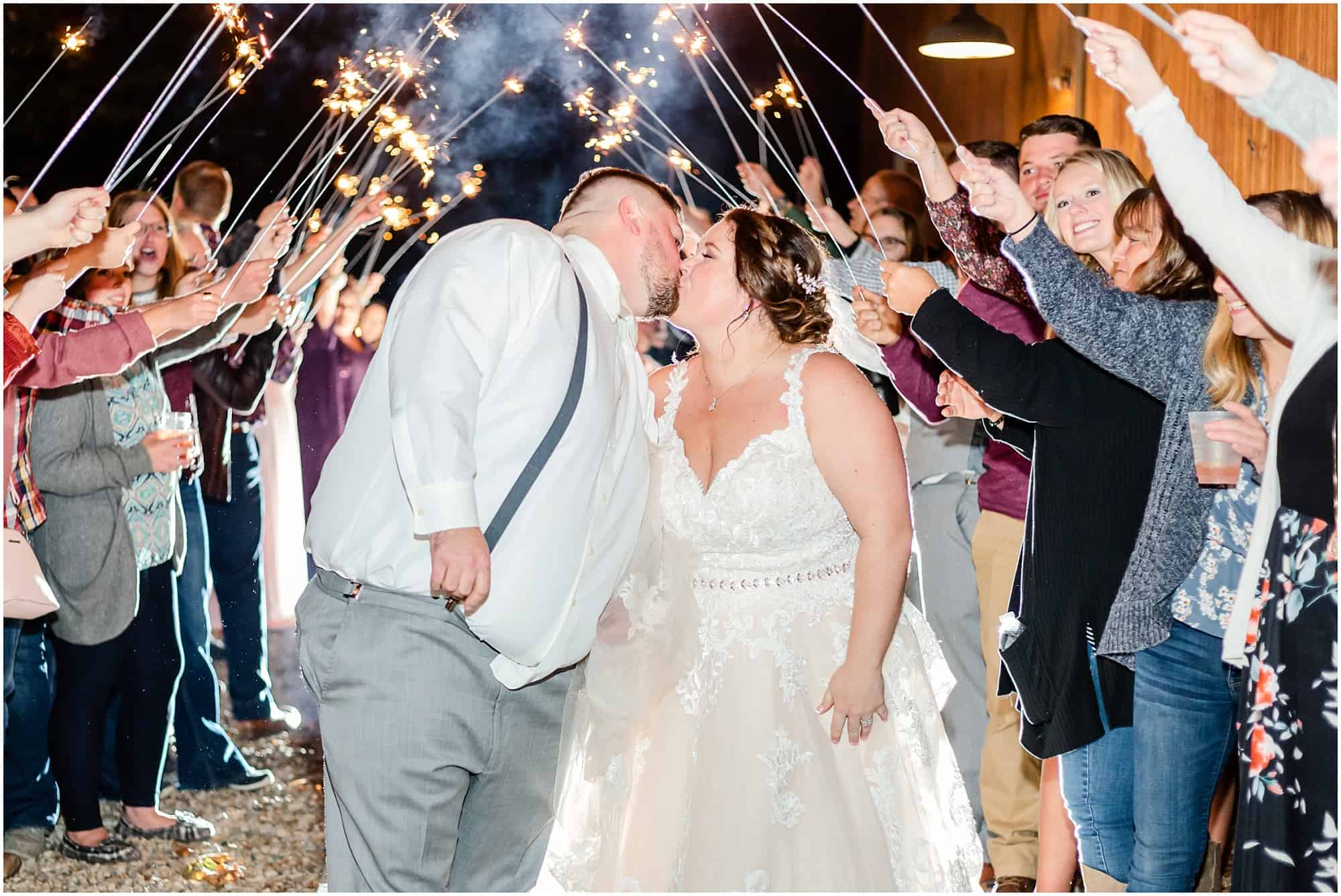 sparklers at willow haven wedding
