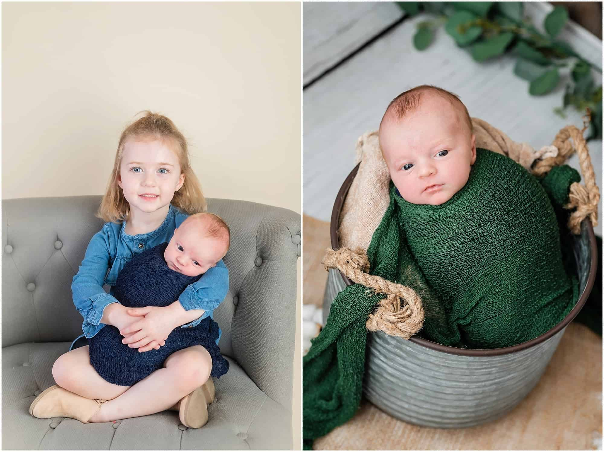 big sister poses with newborn baby brother